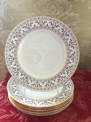 "Royal Crown Derby BRITTANY Lot of 6 Salad/Dessert 8 1/2"" Plates"
