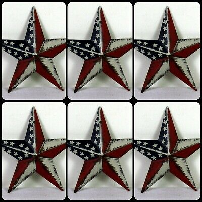 Barn Star Christmas Ornaments | Americana | 3.5 inch SET of 6 FREE SHIPPING