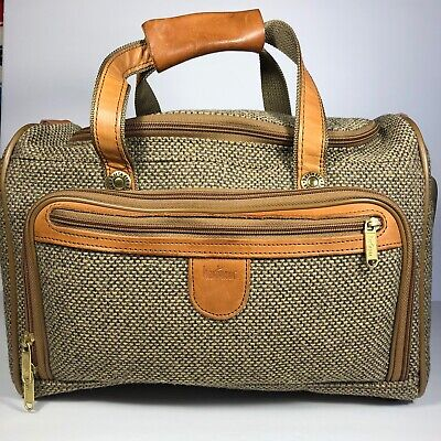 Vtg Hartmann Luggage Tweed & Leather Overnight Cosmetic Travel Bag Toiletry Case