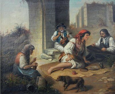 """perfect 36x24 oil painting handpainted on canvas""""Landscape with Gypsies """"@7287"""