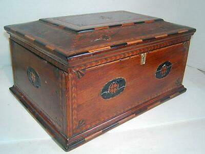 Outstanding Antique INLAID 19THC BOX - Various Woods, Divided Interior, Jewelry