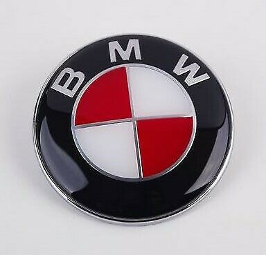 BMW 74mm Boot/Trunk Badge Emblem - Red White