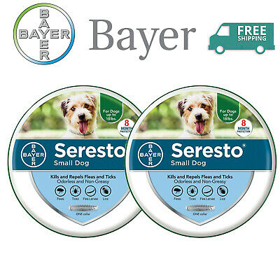 Bayer Seresto Flea and Tick Collar for Small Dog ,8 Month Protection - 2 Pack