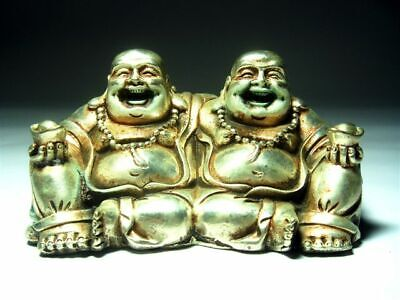 Vintage Silver Copper Crafted 2 Laughing MI-LE Buddha Holding Yuan-Bao Ingots