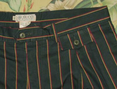 Vtg 90s GUCCI Green Striped Cotton Shorts Made In Italy EU 54 US 36