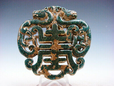 Old Nephrite Jade Stone 2 Sides LARGE Pendant 2 Dragons & Blessing #03112013