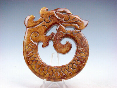 Old Nephrite Jade Stone Carved LARGE Pendant Furious Curly Dragon #11271907