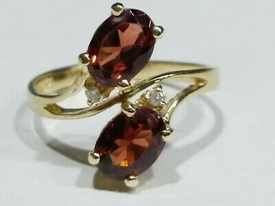 Genuine Garnet & Diamonds 14k Gold Ladies Ring Size 7