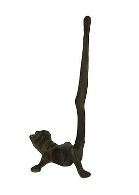 Rustic Brown Cast Iron Long Leg Frog Paper Towel Holder