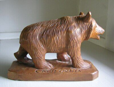 "Hand Carved Wood ""CALIFORNIA"" BEAR Folk Art Figure Sculpture"