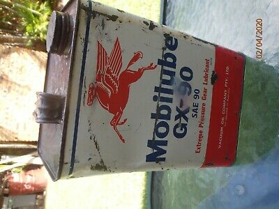 Vintage Rare One Imperial Gallon Oil Tin MOBILUBE MOBIL OIL GX90