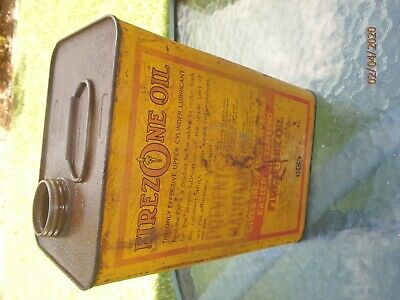 Vintage Rare One Imperial Gallon Oil Tin FIREZONE Motor Oil UPPER CYLINDER LUBE