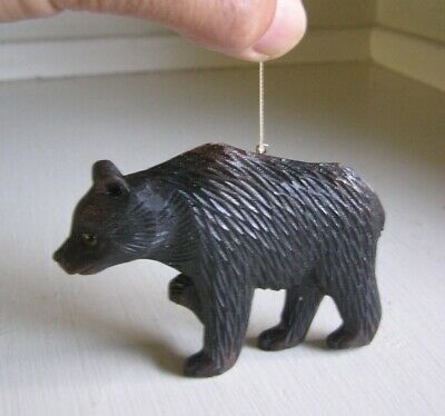 Black Forest? Hand Carved Wood Black Bear w/ Glass Eyes Christmas Tree Ornament
