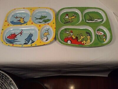 Two Dr Seuss melamine divided plates
