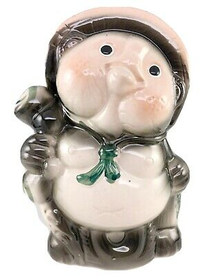 Tanuki Still Bank Piggy Bank Fox Raccoon Dog Sake Wealth Ceramic Japanese Vntg