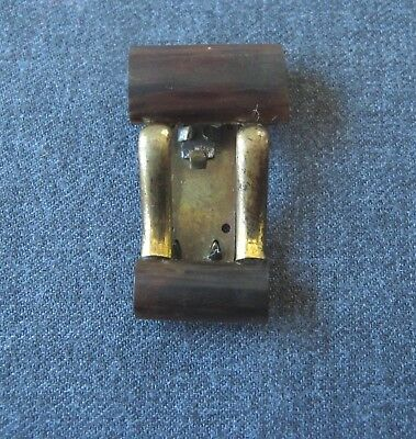Antique 1920'S Art Deco Machine Age Galalith & Golden Metal Brooch Clip Pin