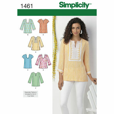 Simplicity Sewing Pattern 1461 Misses 10-18 Tops/Tunics With Neckline Variations
