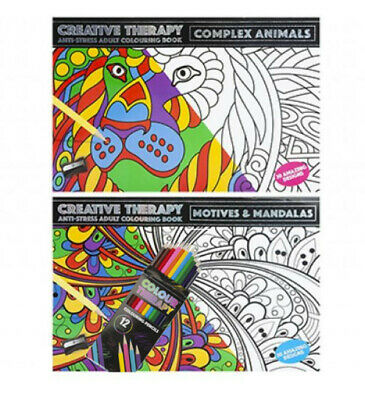 Colour Therapy Anti Stress Adult Calming Colouring Books X 2+ 12 Pencils