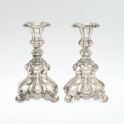 Solid Silver Candlestick  Sweden silver marks 830 rococo style - weight 907gr