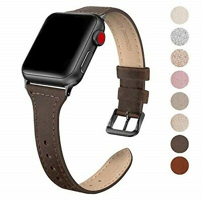 SWEES Leather Band Compatible for Apple Watch iWatch 38mm 40mm, Slim Thin Dressy