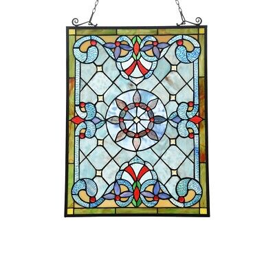 """Stained Glass Window Panel Victorian Stained Glass Tiffany Style 18"""" X 25 """""""