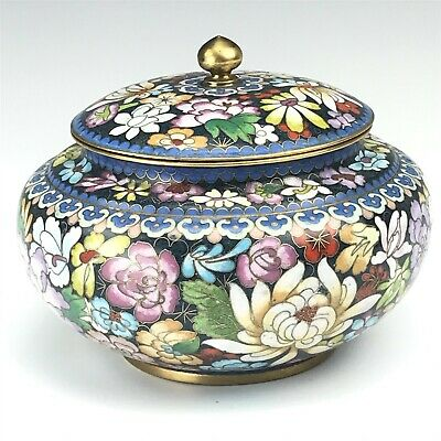 Chinese Export Cloisonne Enamel Multifloral Brass Mounted Lidded Vase Jar NR VDW