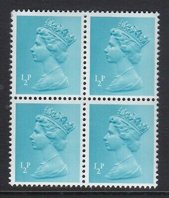HALF PENNY BLOCK OF 4 1/2p DEFINTIVE GB 1980s STAMPS UNMOUNTED MINT