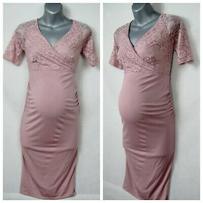 new ASOS MATERNITY NURSING pink dress with lace bodice size 12