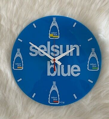 Vintage 1990 Selsun Blue Promotional Wall Clock Battery Operated Quartz Movement