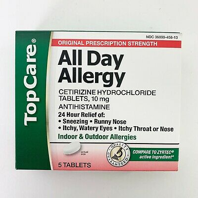 NEW NIP TopCare All Day Allergy Tablets Antihistamine 10 mg 24 hr Relief