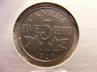 Canada 1924 5 Cents, VF, Better date in series