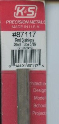 12 in STAINLESS STEEL ROUND TUBE 5/16 OD in (7.94 OD mm) K&S Metals #87117 NEW