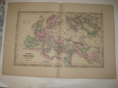 Huge Antique 1866 Roman Empire Europe Greece Italy Johnson Handcolored Map Fine