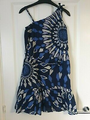 Gap Blue Navy White Cotton Print Asymmetric Top Strappy Belted Summer Dress 13Y