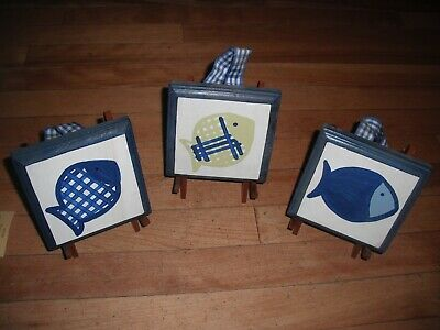 Pottery Barn Kids Style Gone Fishing Fish Wooden Plaques Wall Decor Easel Stands