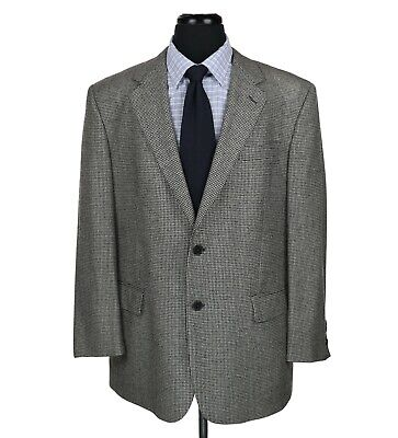 Brooks Brothers Italy Loro Piana Wool Sport Coat Gray w/Black Houndstooth 42R