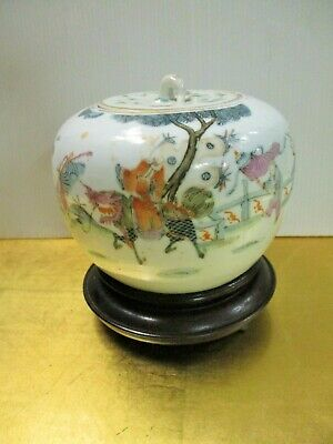 Antique Chinese Famille Rose Spice Jar Tao Kuang Ching Dynasty W/ Stand Signed