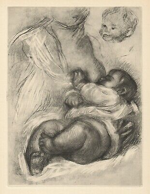 """Touching 1919 RENOIR Limited Edition Engraving """"Mother Breastfeeding"""" FRAMED COA"""