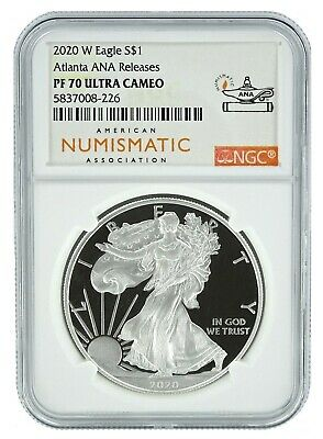 2020 W 1oz Silver Eagle Proof NGC PF70 Ultra Cameo - Atlanta ANA Releases Label