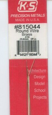 12 in BRASS 3-pieces ROUND WIRE 1/100 OD in (0.254 OD mm) K&S Metals #815044 NEW