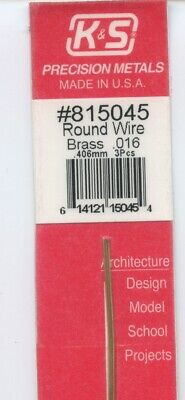 12 in BRASS 3-pieces ROUND WIRE 2/125 OD in (0.406 OD mm) K&S Metals #815045 NEW