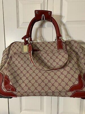 Ralph Lauren Carry On Luggage Rolling Duffle Bag Red Logo Canvas Leather Trim