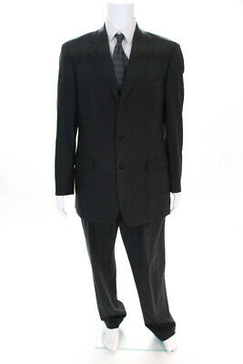 346 Brooks Brothers Mens Three Button Pleated Suit Gray Wool Size 41 Long