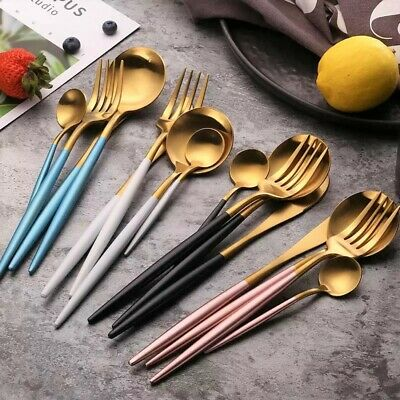 Cutlery Set 304 STAINLESS STEEL PORTUGEISE Luxury Plated Dining Tableware* 4 Pcs
