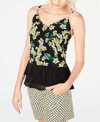INC 2343 Size XS Womens NEW Black Printed Tank Top Ruffled Pull Over $54