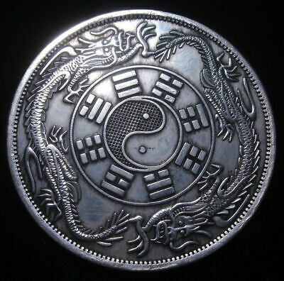Palm Sized Huge Chinese *Double Dragon * Coin Shaped Paperweight 88mm #03122002