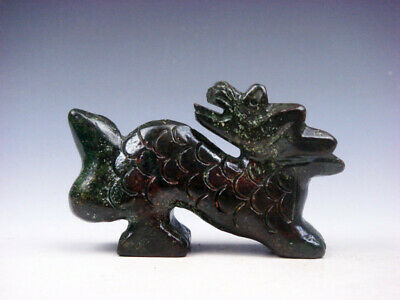 Old Nephrite Jade Stone Carved Sculpture Furious Dragon Looking Back #03262009
