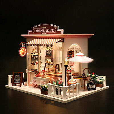 Wood Dollhouse Miniature Furniture DIY Kit Light Doll House Shop Toy Kids Gift