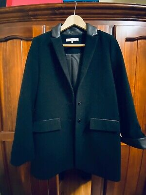 Zara Wool Black Coat with Leather Trimmings Size M