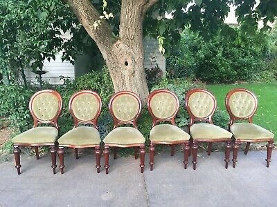 Set of 6 Antique Victorian Mahogany Balloon Back Dining Chairs!